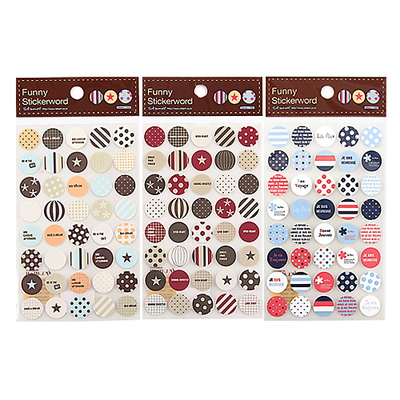 Dot Pattern Deco Sticker pack of 3 -6sheets, 100 x 150mm