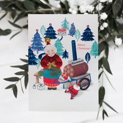 FS1029-4 크리스마스카드 트리 산타 성탄절 루돌프