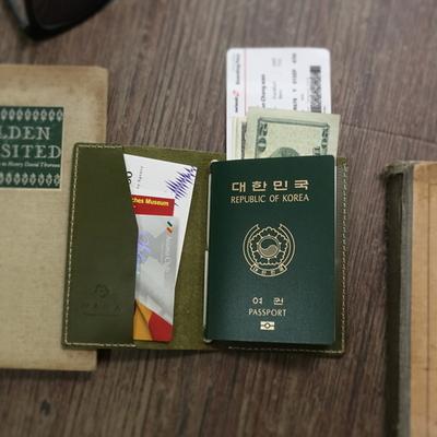 천연가죽 여권커버 (스내치올리브) - Passport folder