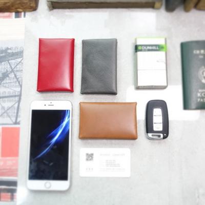 가죽 자석식 명함케이스 - x 스티치  Magnet Card Case