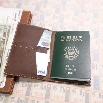 천연가죽 여권지갑 - 마르스브라운