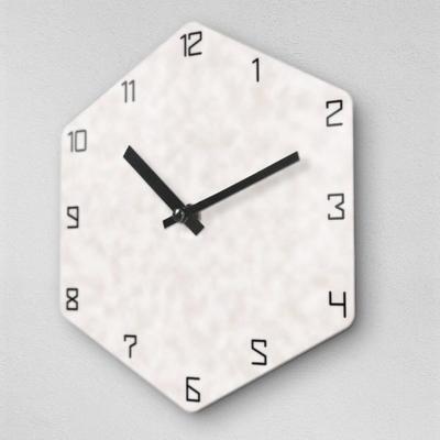 6각 몰드리스 화이트 무소음 아크릴 벽시계(대) OLD16