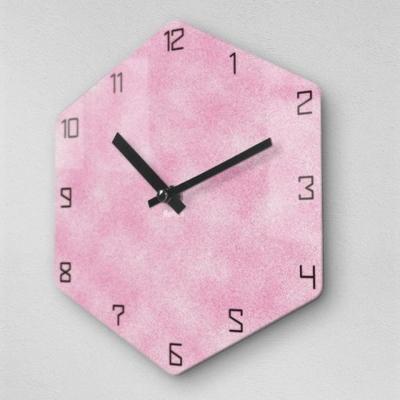 6각 스프레이 핑크 무소음 아크릴 벽시계(대) OLD19
