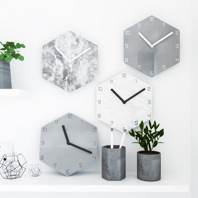 콘크리트 마블 헥사곤 무소음벽시계 4종 HEX48