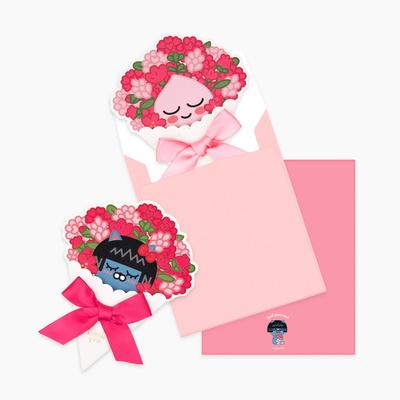 카카오프렌즈 땡큐 꽃다발카드