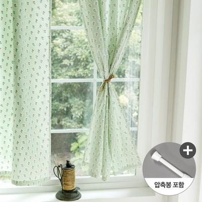 앨리스 민트플라워 창문 가리개커튼+봉포함