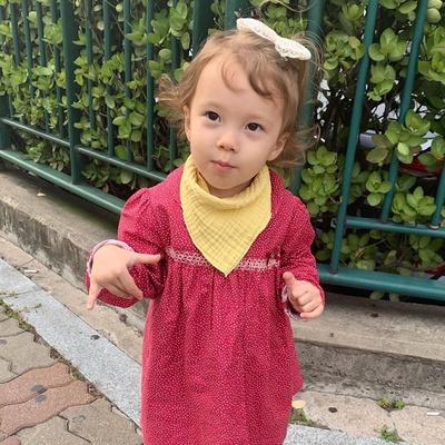 유아 삼중 거즈 여아 3종세트 사계절 아기 스카프빕