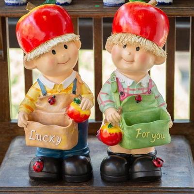 WEL21424 사과모자 아이들 장식인형 2p (대)