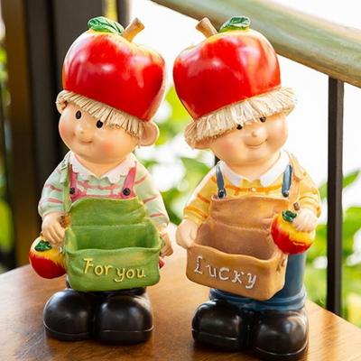 WEL21423 사과모자 아이들 장식인형 2p (소)