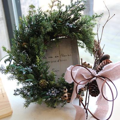 크리스마스리스-솔방울과프리저브드
