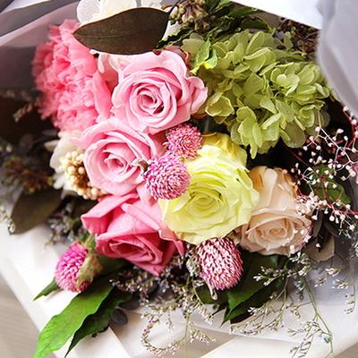 더봄프리저브드플라워-체리핑크장미꽃다발