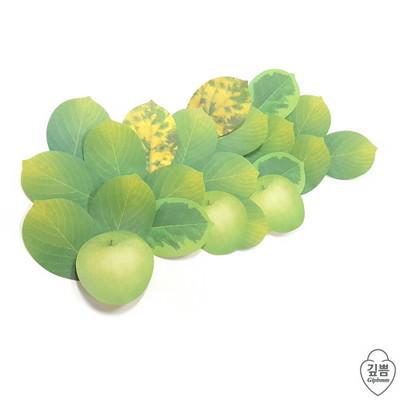 애플 접착식 메모지(green)