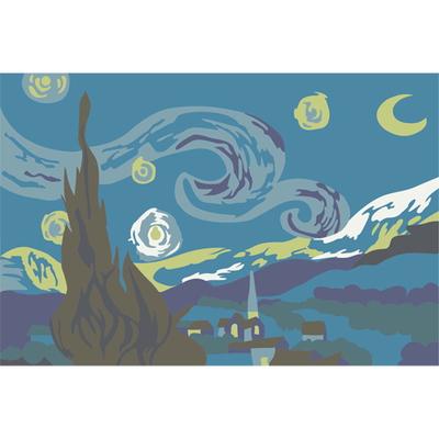 (DIY-10cmX15cm)교과서속 명화그리기 고흐(별이빛나는밤에)1249