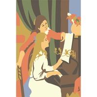(DIY-10cmX15cm)교과서속 명화그리기 르누아르(피아노치는소녀)1265