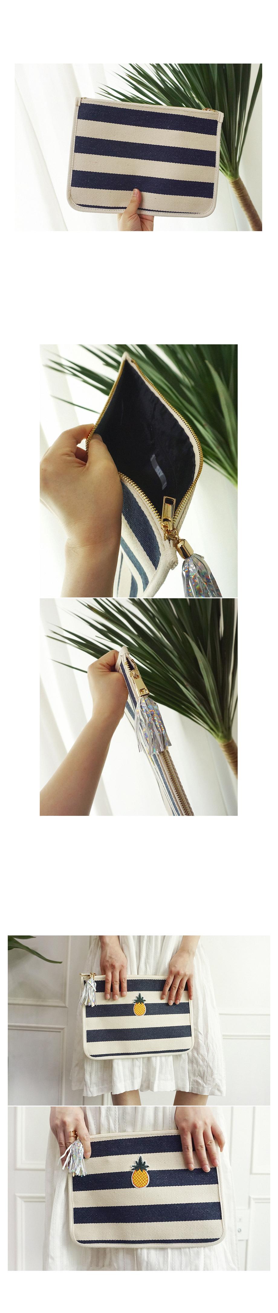 스트라이프 파인애플 자수 태슬 클러치백 - 앞머리, 26,500원, 클러치백, 패브릭클러치백