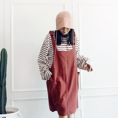 어깨 끈 포켓 멜빵원피스