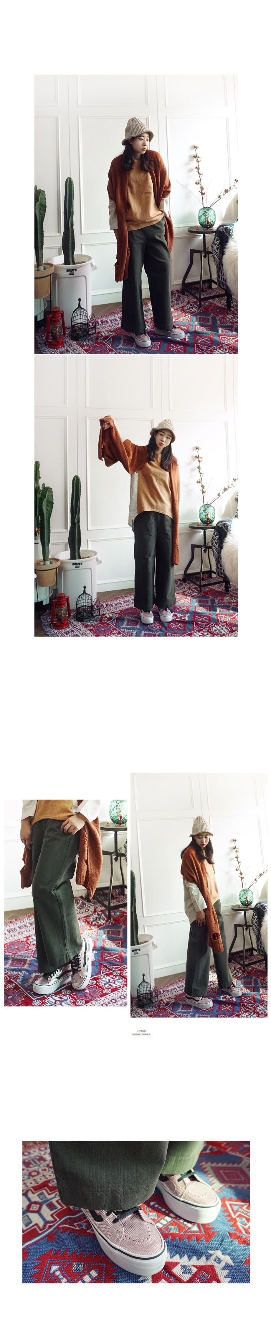 신축성이 좋은 도톰 와이드 코튼 밴딩팬츠 - 앞머리, 38,500원, 하의, 와이드팬츠
