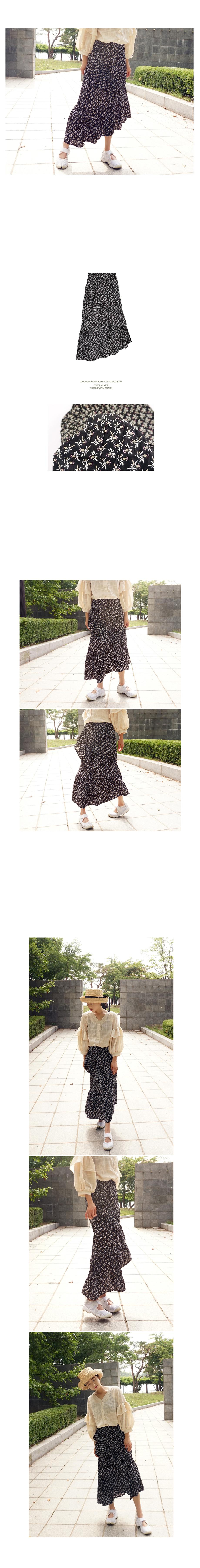 사선프릴 잔꽃밴딩롱스커트 - 앞머리, 31,500원, 하의, 스커트