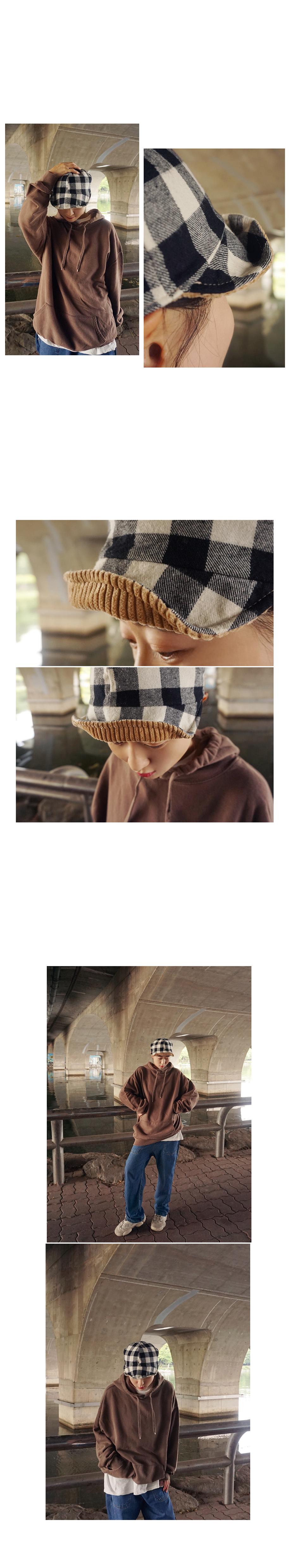 양면 코듀로이 체크기모면캡 벙거지모자 - 앞머리, 22,050원, 모자, 버킷햇