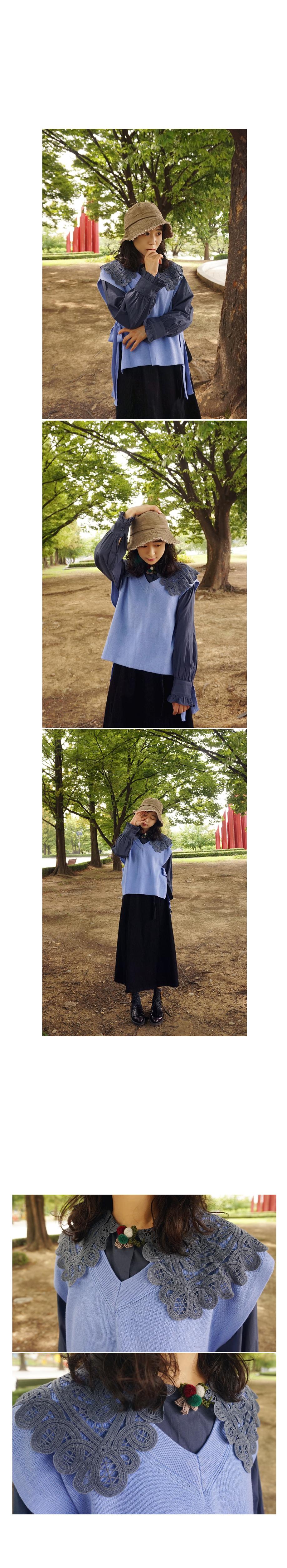 로맨틱 플라워자수 빅카라 블라우스 - 앞머리, 36,500원, 상의, 블라우스/셔츠