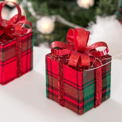 체크선물상자6cm(4개입) 트리 크리스마스 소품 TROMCG