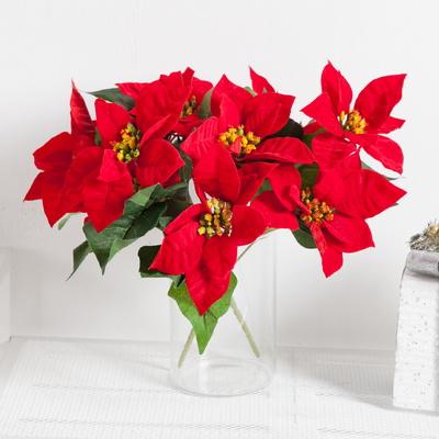 벨벳포인꽃부쉬 중 30cm 크리스마스 조화 장식 TRFART