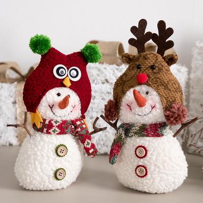 부엉이&사슴 눈사람 23cm 크리스마스 인형 TRDOLC