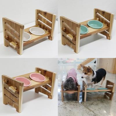 3단높이조절 애견식기 고양이 강아지 도자기밥그릇
