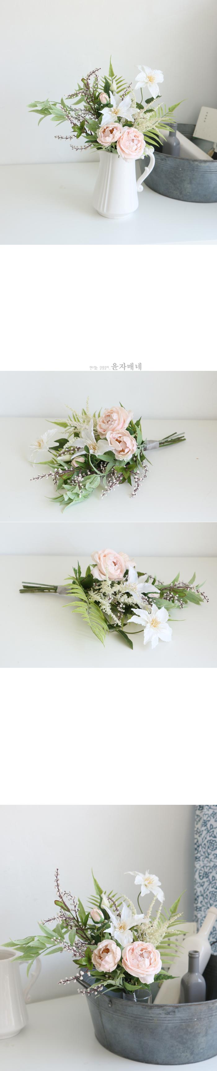 클레마티스 장미 믹스 꽃다발 - 윤자매네, 30,600원, 조화, 꽃다발/꽃바구니