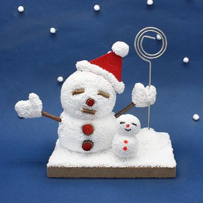 클레이공예-동글동글 눈사람 메모꽂이