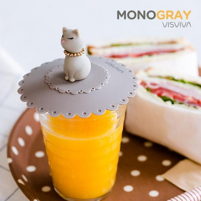 모노그레이 고양이 컵덮개