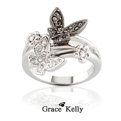 더블 나비 크리스탈 반지