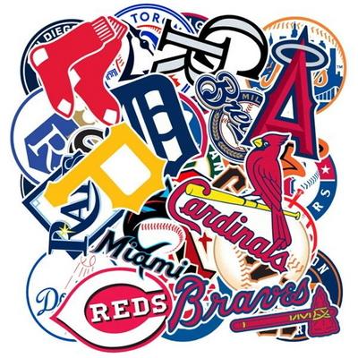 MLB야구 팀로고 30종 캐리어 노트북 방수 데코 스티커
