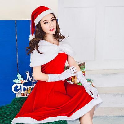 크리스마스 파티 리본숄더 산타원피스의상 산타클로스