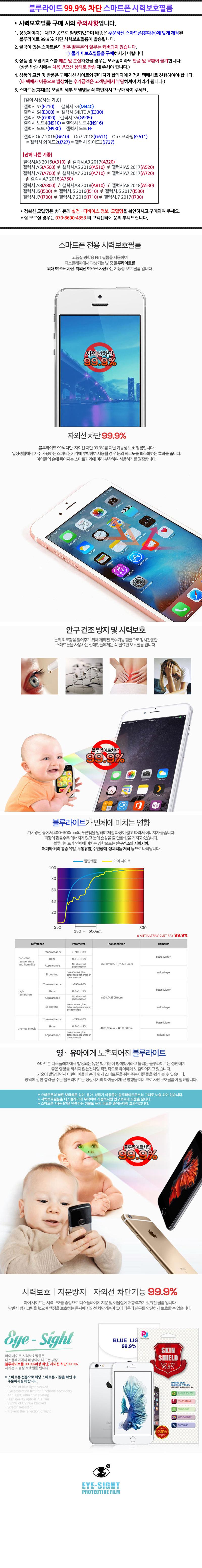 블루라이트 99.9차단 스마트폰 시력보호필름 -갤럭시On7 2016 (G610) - 모션테크, 8,800원, 필름/스킨, 기타 갤럭시 제품