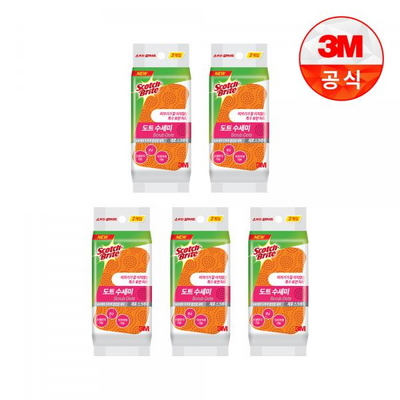 [3M]음식물이 끼지않는 제로스크래치 도트수세미 2입(흠집방지용) 5개
