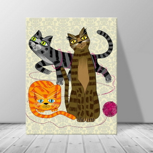 인테리어 카페 동물 고양이 일러스트 캔버스 액자 zo(43)