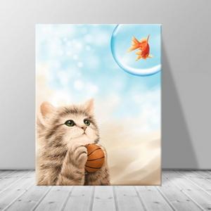 인테리어 카페 동물 고양이 일러스트 액자 zo(50)