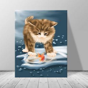 인테리어 카페 동물 고양이 캔버스 액자 zo(51)