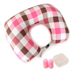 TCUBE - 티큐브 여행용 듀얼 체크 에어목베개 + 귀마개 세트 - 핑크체크
