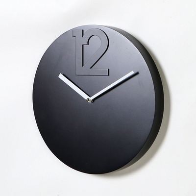 스칸-우드 원형12 모던 벽시계 300-블랙