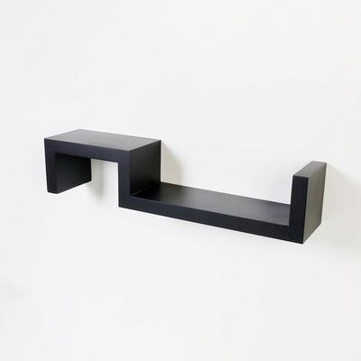 우드 S자 양방향 인테리어 벽선반-블랙