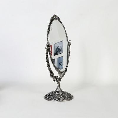 엔틱메탈 스텐딩 큐빅 화장거울 라지-주석