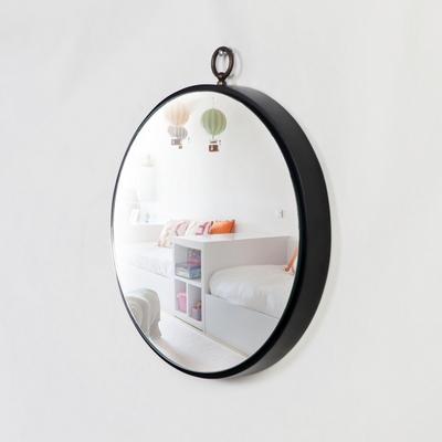 우드 원형 프레임 섀도우 행잉거울 300-블랙