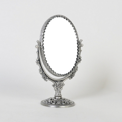 큐티 메탈 백합 타원 화장대 양면거울 스몰-3색상