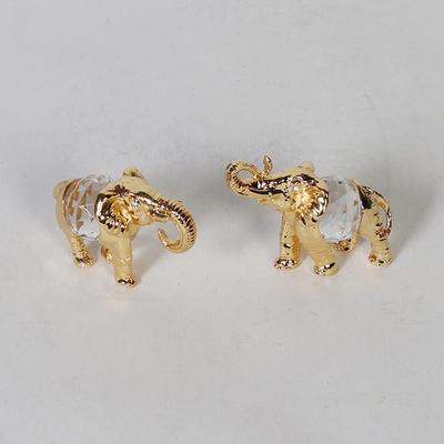 메탈 황금 코끼리 커플 장식세트 2P