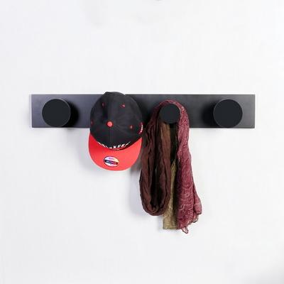 우드 플랜 도트 벽장식 4P 코트훅 800-블랙
