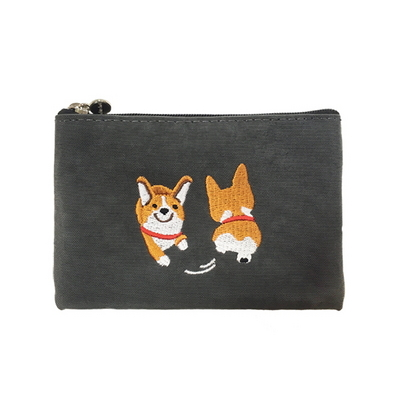 happy corgi card pouch