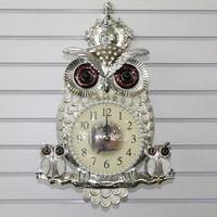 부엉이 실버 양면 시계