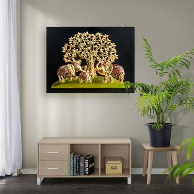 돈나무 코끼리 삼형제 인테리어 부조 액자 30x40